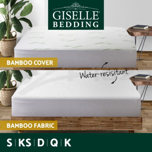 Giselle Waterproof Mattress Protector Queen Bamboo Fibre Cotton Cover All Size <br/> 5 Models-Bamboo✔Non Woven✔Terry Cotton✔knitted✔Quilted