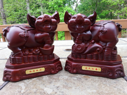 "1 Pair Chinese Lucky Animal Pigs 7.5""H"
