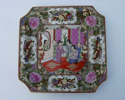 Vintage Chinese Famille Rose Octagon Shaped Plate Dish Vibrant Enamel