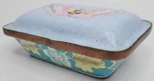 ANTIQUE VINTAGE CANTON ENAMEL COPPER FLORAL BUTTERFLY SNUFF TRINKET BOX W/LID