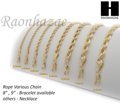 """NEW 14K GOLD PLATED ROPE NECKLACE CHAIN (3-8mm) w/ (8""""/9""""/18""""/20""""/24""""/30""""/36"""")"""