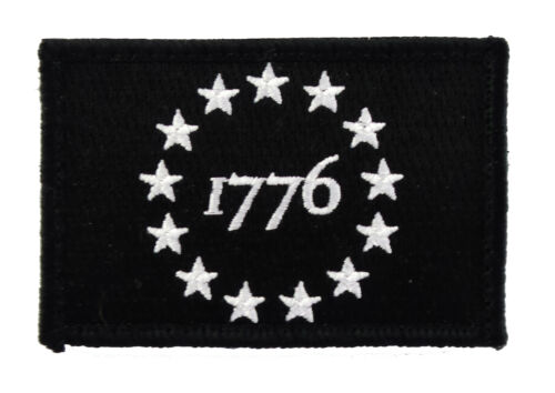 1776 Patriot Tactical Hook & Loop Fully Embroidered Morale Tags Patch BWArmy - 48824