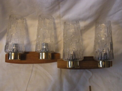 Pair Mid Century 60´s German Teak & Bubble Glass Wall Lamps Sconces #O/A