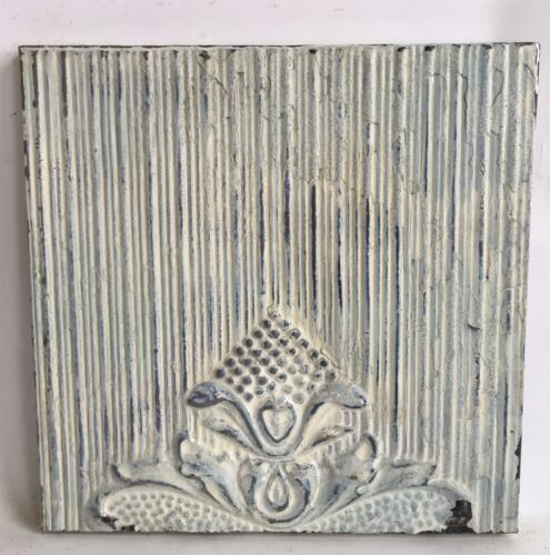 """11"""" x 11"""" Antique Tin Ceiling Tile Wrapped Frame Green Anniversary Wall Art C13"""