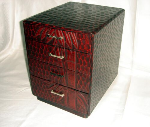Japanese KAMAKURA-BORI KOTANSU Lacquered Woodcarving Small Chest~4 Drawer~SIGNED