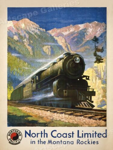 1920s North Coast Limited Rockies Vintage Style Train Travel Poster - 20x28