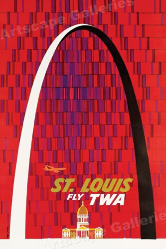 "1964 ""St Louis - Fly TWA"" Gateway Arch Vintage Style Travel Poster - 16x24"