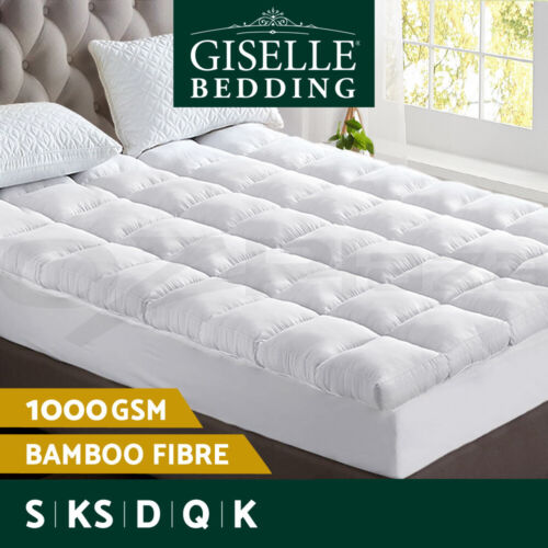 Giselle Bedding Bamboo Fibre Pillowtop Mattress Topper 1000GSM Cover All Size <br/> 1000GSM / 45cm Elastic Skirt / 5cm Thick / Bamboo