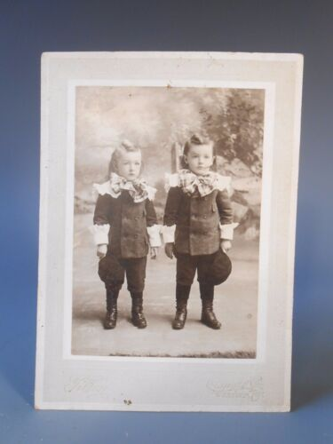Cabinet Photograph of Twins in Fancy Dress Exeter New Hampshire ca. 19-20th c