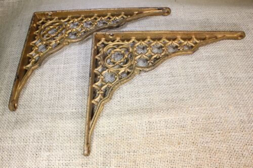 "2 Shelf brackets braces supports 6 X 8"" vintage old lattice rustic brass paint"