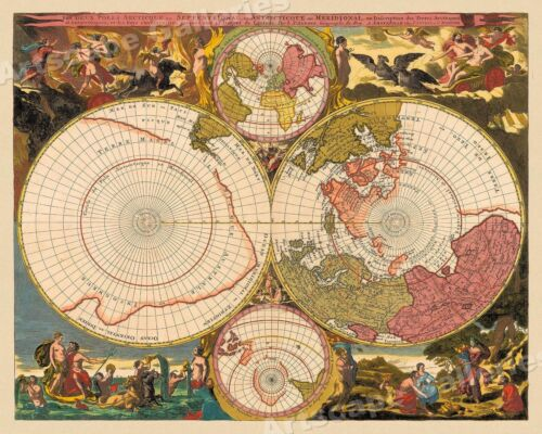 1730 The Two Arctic Poles Historic Vintage Style Decorative Wall Map - 20x24