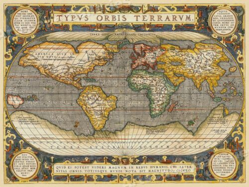 1608 World Map by Ortelius Historic Vintage Style Wall Map - 18x24