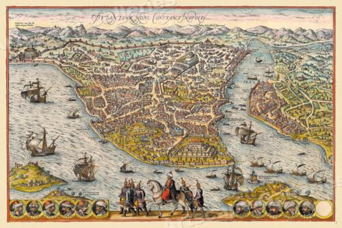 "1570s ""Byzantium, Constantinople, Istanbul"" Vintage Style Empire Map - 20x30"
