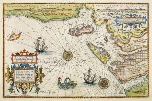 1605 Sea Coast of France Historic Vintage Style Wall Map - 24x36