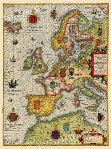 """1580s """"Universe Europe Maritime"""" Vintage Style Navigational Map - 24x32"""
