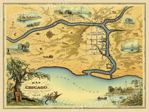 1833 Historic Map of Chicago Illinois Vintage Style Wall Map - 18x24