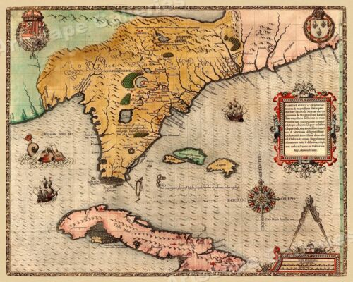 Florida and Cuba Caribbean 1591 Vintage Style Early Historic Map - 16x20