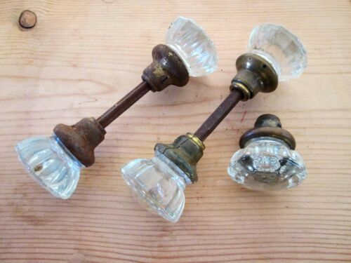 5 glass crystal vintage door knobs 2 pairs one single brass