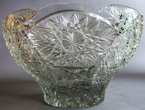 "Large 13"" AMERICAN BRILLIANT ERA Cut Glass PUNCH BOWL  c. 1900   antique crystal"