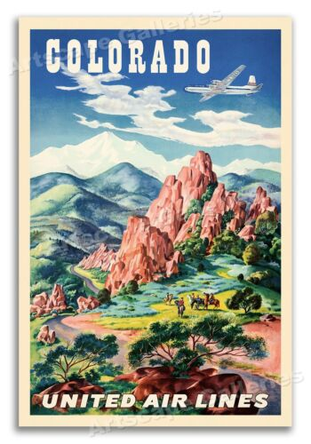 Colorado Springs 1950s United Airlines Vintage Style Travel Poster - 16x24