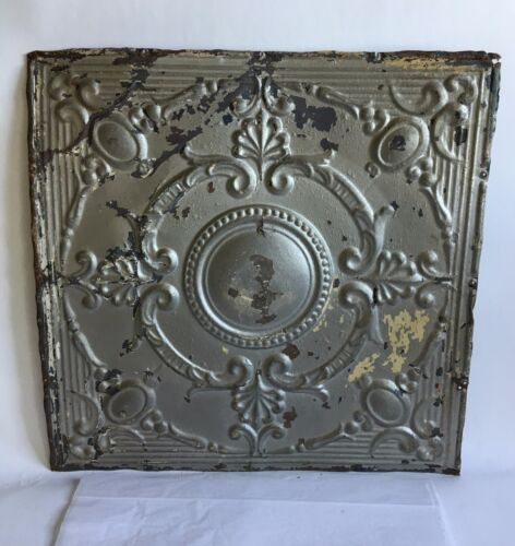 """1890's 24"""" x 24"""" Antique Reclaimed Tin Ceiling Tile Silver Metal Anniversary B61"""