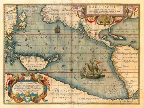 1589 Mars Pacifici Historic Vintage Style Unusual New World Wall Map - 18x24