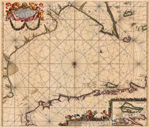 English Channel 1702 Vintage Style Sea Chart Map - 24x28