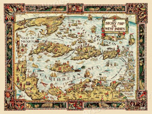 Story of the West Indies 1936 Vintage Style Caribbean Map - 24x32