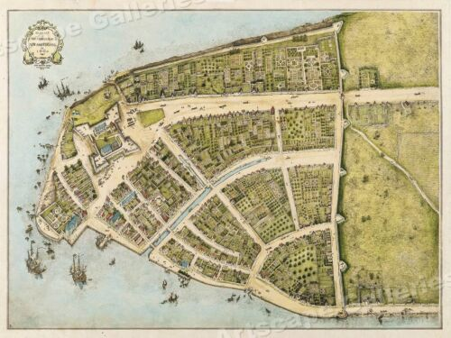 1660 Castello Plan New Amsterdam Historic Vintage Style Wall Map - 20x28