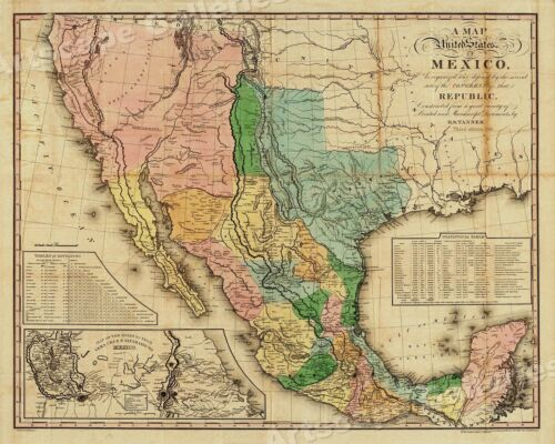 """A Map of the United States of Mexico"" 1846 Vintage Mexican Map - 20x24"