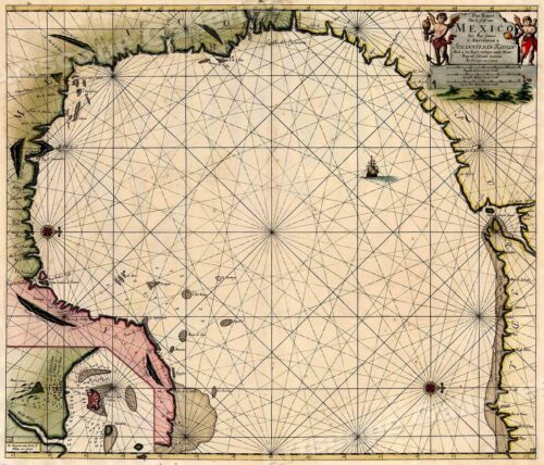 """1630s """"Sea Chart of the Gulf of Mexico"""" Vintage Style Gulf Coast Map - 16x20"""