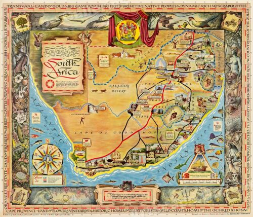 """1950s """"A Pictorial Map of South Africa"""" Vintage Style Illustrated Map - 20x24"""