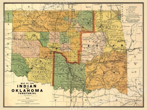 1892 Indian Territory Historic Vintage Style Oklahoma Wall Map - 18x24