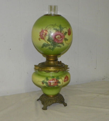Antique Gone with the Wind Oil Kerosene Lamp – Poppy Flower Decorations