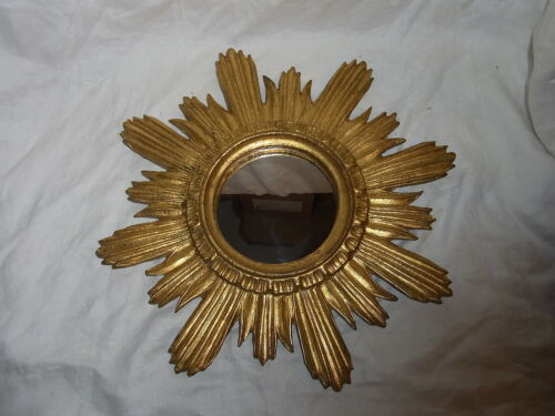 Mid Century 60´s Resin Sun Burst Star Bust Wall Mirror Gilt #<2