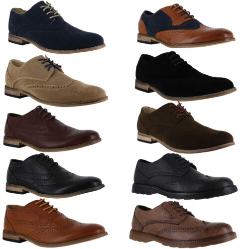 Mens Smart Formal Casual Lace Up Faux Suede Brogues Shoes Sizes 6 to 12