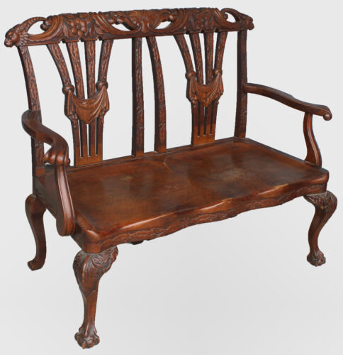Antique Quarter sawn Solid Oak Bench with carved claw feet - Original finish