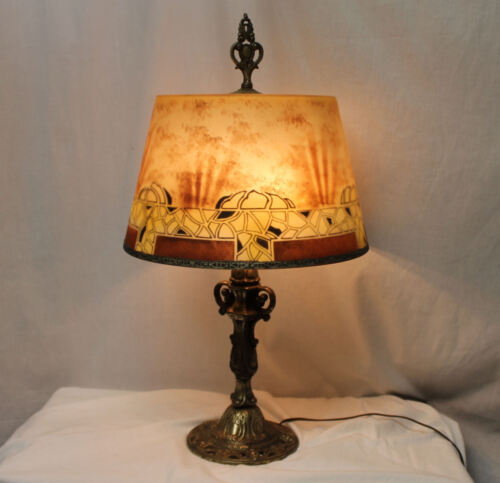 Beautiful Reverse Painted Antique Lamp Jefferson Company