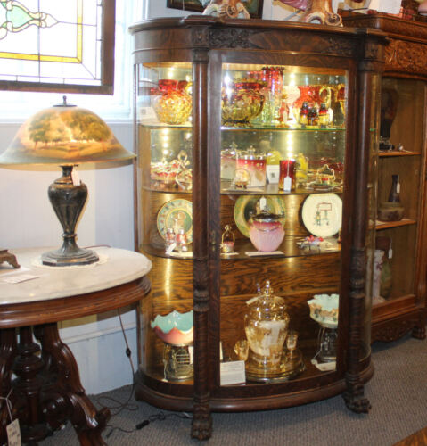 Antique fine carved Oak Curved China Curio Cabinet