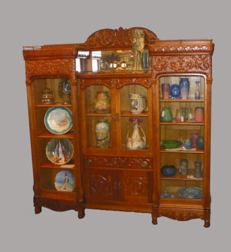 Large Antique Bookcase four doors and highly carved Beautiful Wall Unit