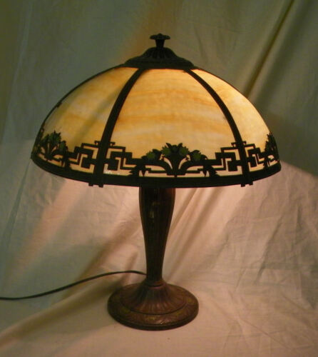 Antique Slag Glass Caramel Six Panel Electric Table Lamp