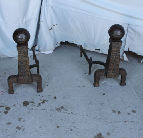 Antique Mission Arts and Crafts Style Large Pair of Metal Andirons
