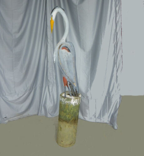 Primitive Wooden Carved Stork Type Bird on Pier Post Folk Art