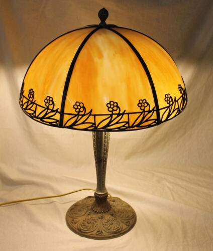 Antique Lamp with Paneled Curved Glass shade