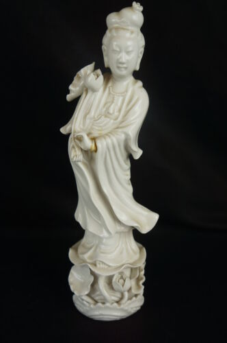 """Antique Chinese Blanc De Chine Porcelain Kwan Yin Statue signed10"""" [Y8-W2-A8-E9]"""
