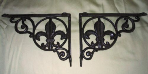 2 Cast Iron Fleur De Lis Decorative Wall Shelf Brackets