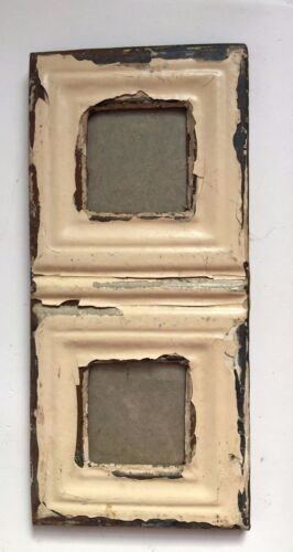 1890's CEILING TIN Picture Frame Double  3 x 3 Tan RECLAIMED Vintage A2