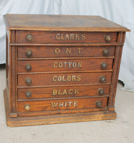 Antique Clark's ONT Advertising Six Drawer Oak Spool Cabinet Country Store Displ