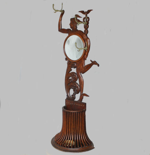 Antique Oak Mercury Figural Hall tree Stand with Mirror and Coat Hooks
