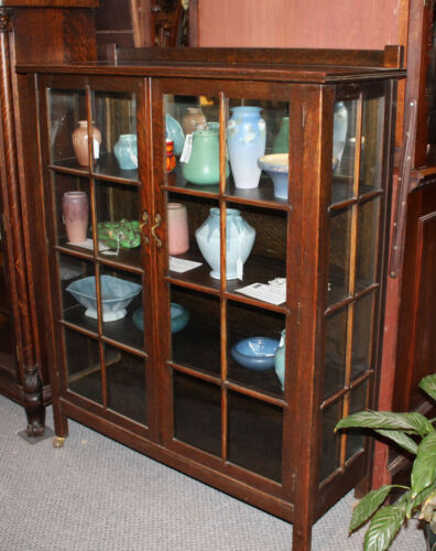 Antique Mission Oak Curio China Cabinet Arts and Crafts Style